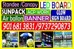 Acp boards led board, standee display stall work